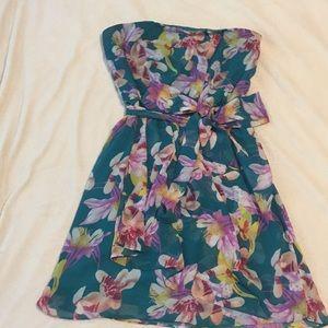 Sale! Express, size 8, strapless teal/floral dress